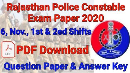 Rajasthan police constable exam paper 2020 6 November 1st Shift answer key & question paper pdf download